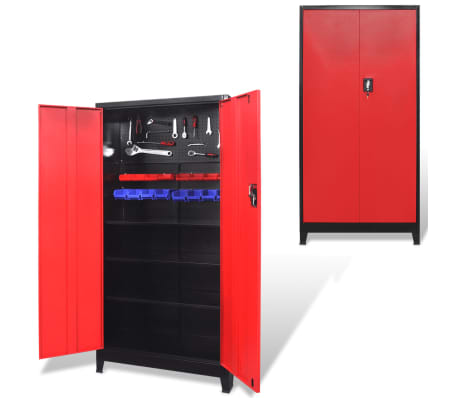 "vidaXL Tool Cabinet with 2 Doors Steel 35.4""x15.7""x70.9"" Black and Red[1/11]"