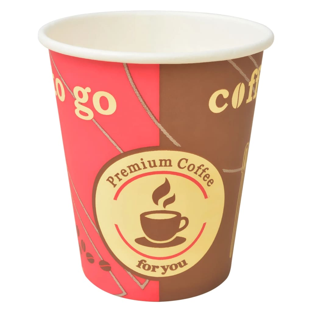 Image of vidaXL 1000 pcs Disposable Coffee Cups Paper 240 ml (8 oz)