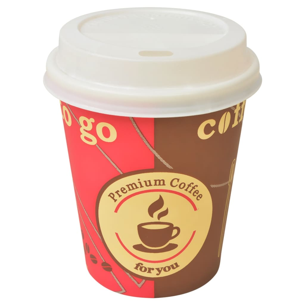 Image of vidaXL 1000 pcs Disposable Coffee Cups with Lids 240 ml (8 oz)