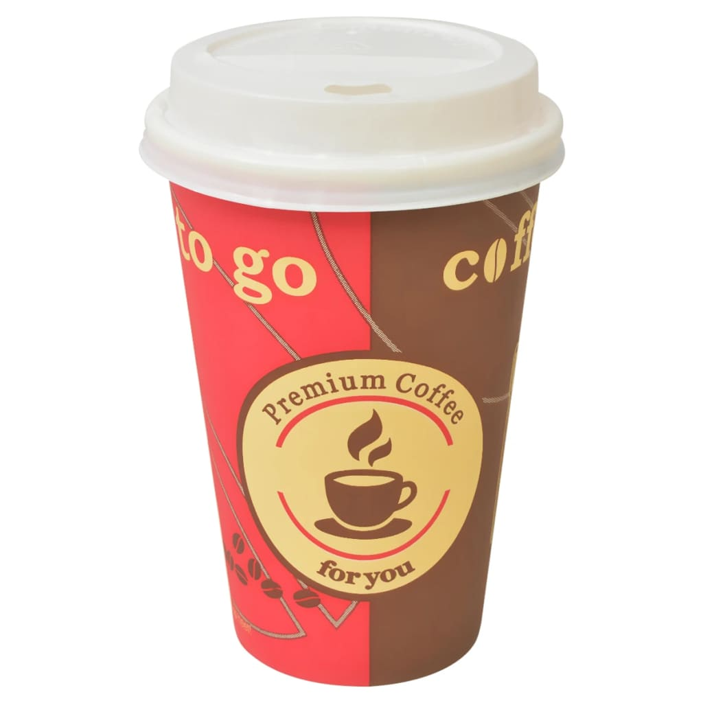 Image of vidaXL 1000 pcs Disposable Coffee Cups with Lids 355 ml (12 oz)