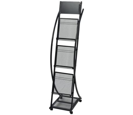 30098 vidaXL Zeitschriftenständer 40 x 32 x 131 cm Schwarz A4
