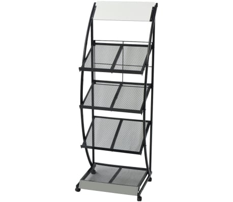 "vidaXL Magazine Rack 18.5""x15.7""x52.8"" Black and White A4"
