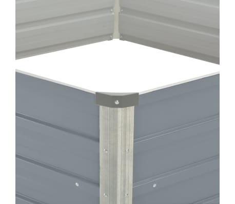 vidaXL Odlingslåda 129x129x46 cm galvaniserat stål grå[4/6]