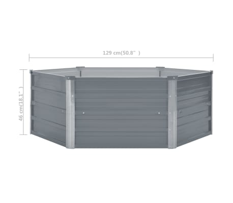 vidaXL Odlingslåda 129x129x46 cm galvaniserat stål grå[6/6]