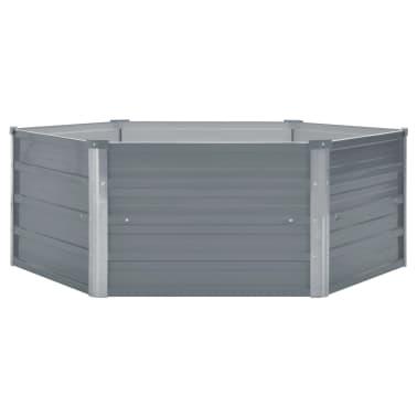 vidaXL Odlingslåda 129x129x46 cm galvaniserat stål grå[2/6]