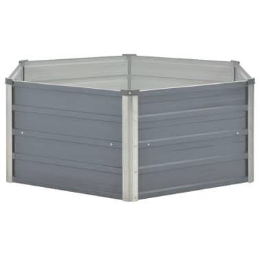 vidaXL Odlingslåda 129x129x46 cm galvaniserat stål grå[3/6]