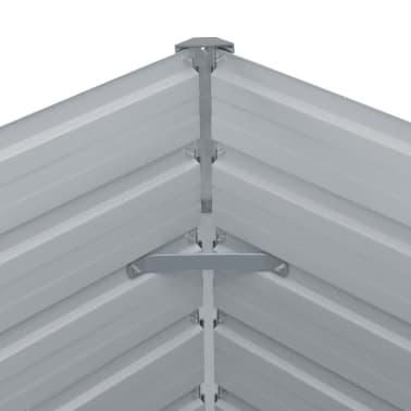 vidaXL Odlingslåda 129x129x46 cm galvaniserat stål grå[5/6]