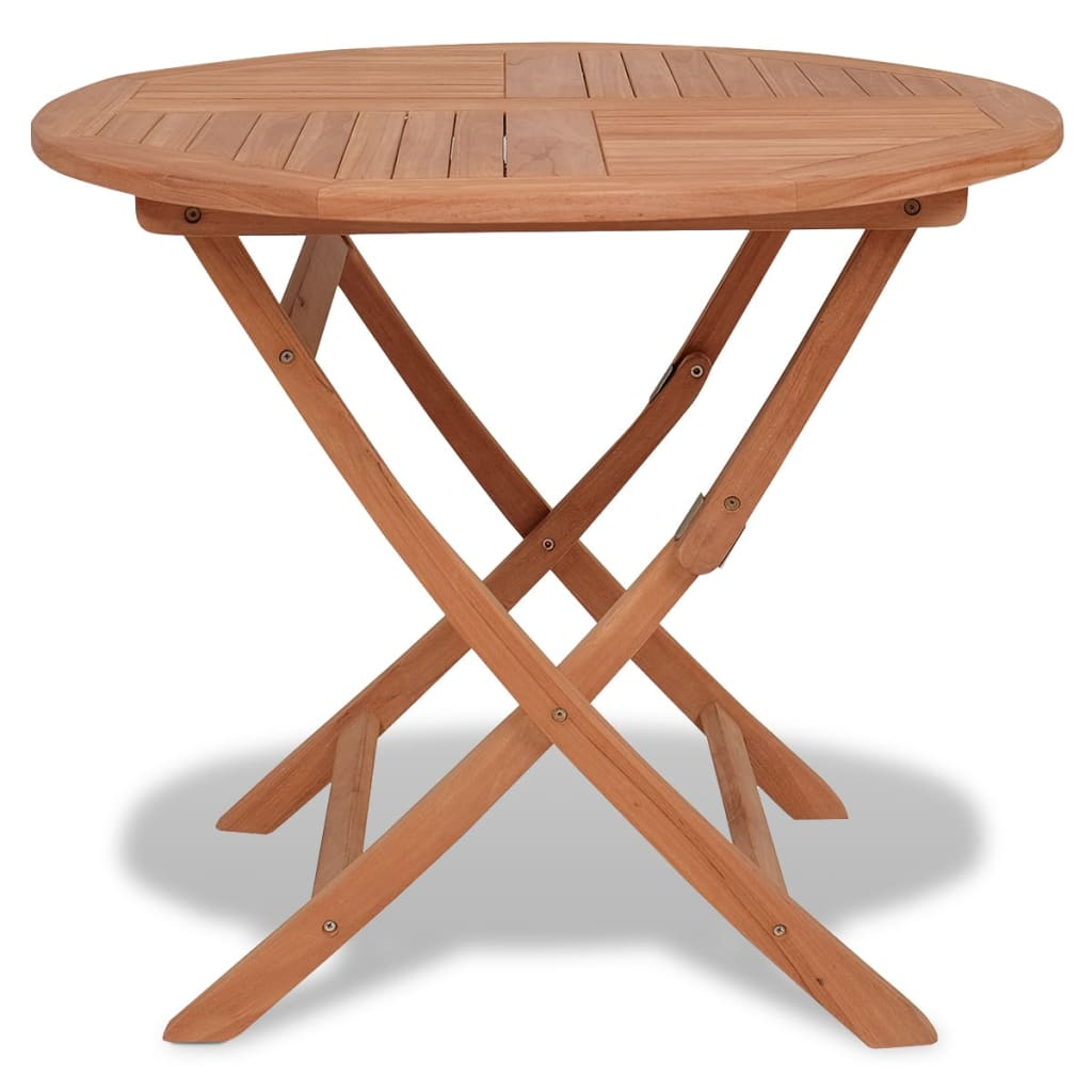 vidaXL Outdoor Dining Table Round Solid Teak