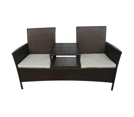 vidaXL 2-Seater Garden Sofa with Tea Table Poly Rattan Brown[2/5]