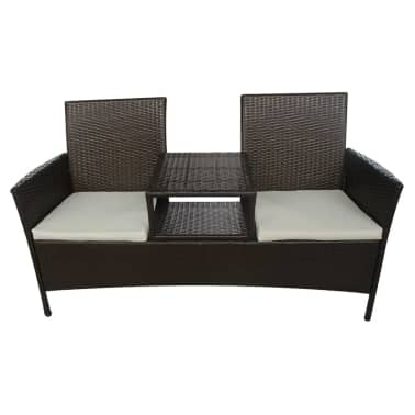 vidaXL Garden Bench 2-Seater with Tea Table Poly Rattan Brown[2/5]