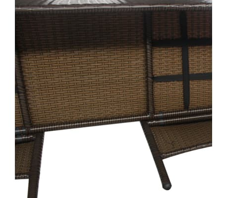 vidaXL Garden Bench 2-Seater with Tea Table Poly Rattan Brown[4/5]