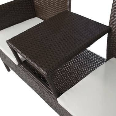 vidaXL Garden Bench 2-Seater with Tea Table Poly Rattan Brown[3/5]