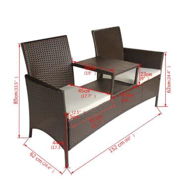 vidaXL Garden Bench 2-Seater with Tea Table Poly Rattan Brown[5/5]