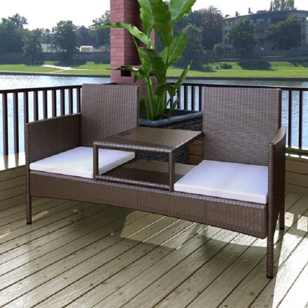 vidaXL Canapea de grădină cu 2 locuri, măsuță de ceai, maro, poliratan poza 2021 vidaXL