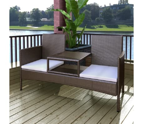vidaXL Garden Bench 2-Seater with Tea Table Poly Rattan Brown[1/5]