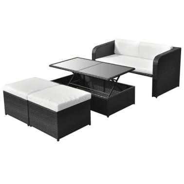vidaXL Conjunto de muebles de jardín 9 piezas poli ratán negro ...