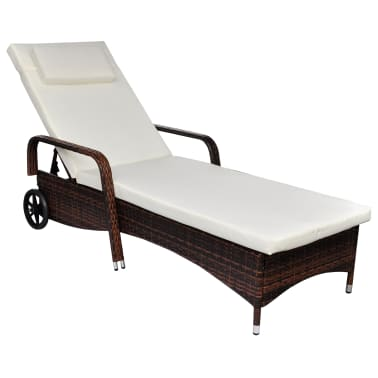 vidaXL Sun Lounger with Wheels Poly Rattan Brown[2/4]