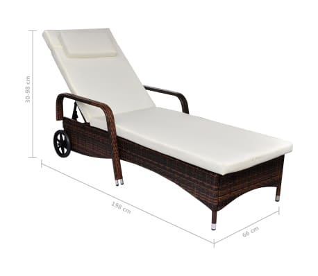 vidaXL Sun Lounger with Wheels Poly Rattan Brown[4/4]