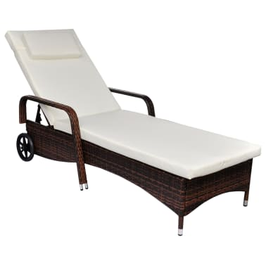 vidaXL Sun Lounger with Wheels Poly Rattan Brown[1/4]