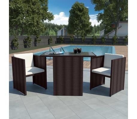 vidaXL Gartenmöbel-Set 7-tlg. Poly Rattan Braun günstig kaufen ...