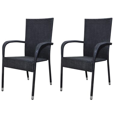 vidaXL Garden Dining Chairs 2 pcs Poly Rattan Black[1/7]