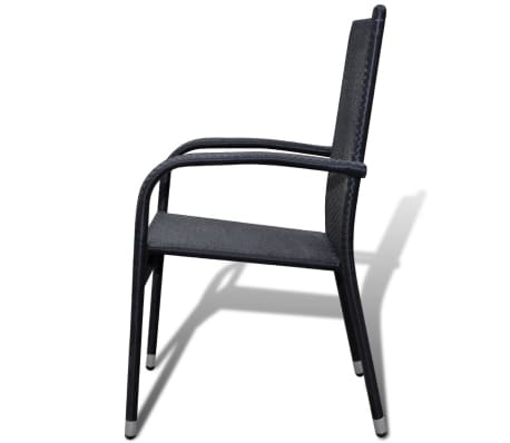 vidaXL Garden Dining Chairs 2 pcs Poly Rattan Black[4/7]