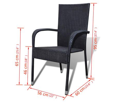 vidaXL Garden Dining Chairs 2 pcs Poly Rattan Black[7/7]