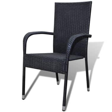 vidaXL Garden Dining Chairs 2 pcs Poly Rattan Black[2/7]