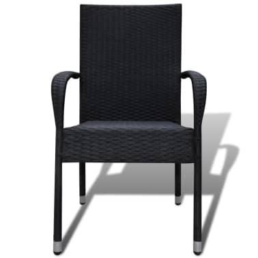 vidaXL Garden Dining Chairs 2 pcs Poly Rattan Black[3/7]