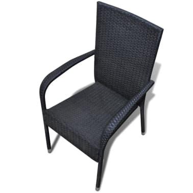vidaXL Garden Dining Chairs 2 pcs Poly Rattan Black[5/7]