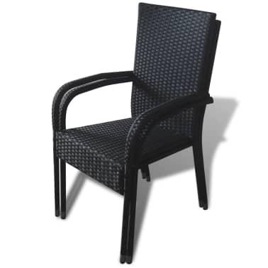 vidaXL Garden Dining Chairs 2 pcs Poly Rattan Black[6/7]