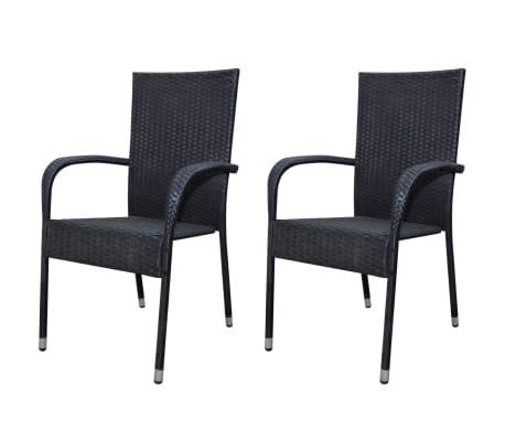 vidaxl gartenst hle essst hle 2 stk poly rattan schwarz g nstig kaufen. Black Bedroom Furniture Sets. Home Design Ideas