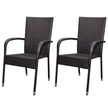 vidaXL Garden Dining Chairs 2 pcs Poly Rattan Brown[1/7]