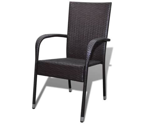 vidaXL Garden Dining Chairs 2 pcs Poly Rattan Brown[2/7]