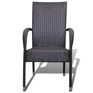 vidaXL Garden Dining Chairs 2 pcs Poly Rattan Brown[3/7]