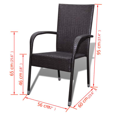 vidaXL Garden Dining Chairs 2 pcs Poly Rattan Brown[7/7]