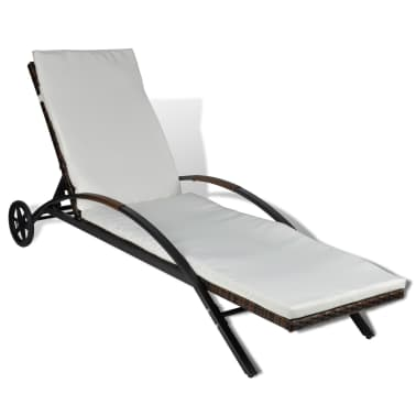 vidaXL Sun Lounger with Cushion & Wheels Poly Rattan Brown[2/6]