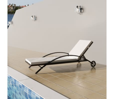 vidaXL Sun Lounger with Cushion & Wheels Poly Rattan Brown[1/6]