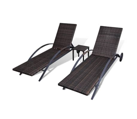 vidaXL Sun Loungers with Table Poly Rattan Brown[6/8]