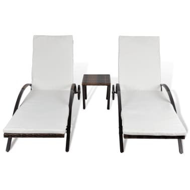 vidaXL Sun Loungers with Table Poly Rattan Brown[3/8]