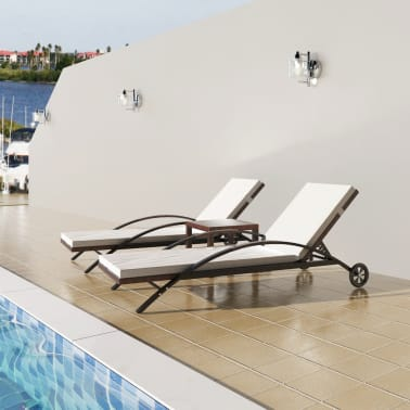 vidaXL Sun Loungers with Table Poly Rattan Brown[1/8]