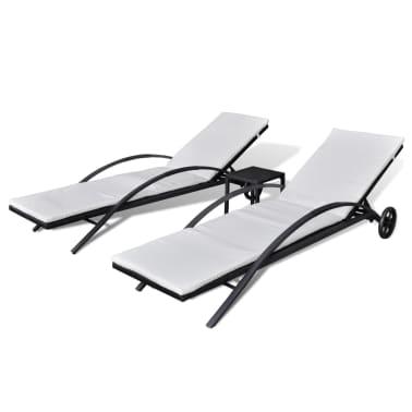 vidaXL Solsängar med bord konstrotting svart[2/7]