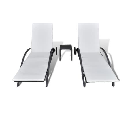 vidaXL Solsängar med bord konstrotting svart[3/7]