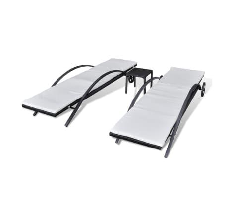 vidaXL Solsängar med bord konstrotting svart[4/7]