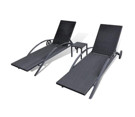 vidaxl sonnenliegen set 3 tlg poly rattan schwarz g nstig. Black Bedroom Furniture Sets. Home Design Ideas