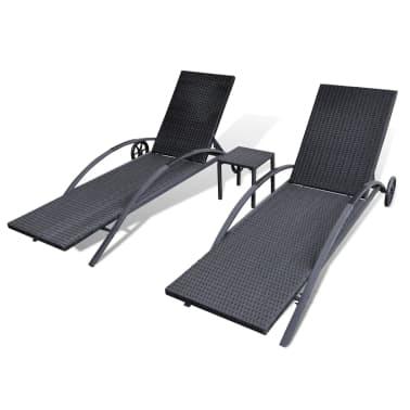 acheter vidaxl jeu de chaise longue 3 pcs noir r sine tress e pas cher. Black Bedroom Furniture Sets. Home Design Ideas