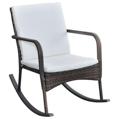 vidaXL Garden Rocking Chair Poly Rattan Brown[2/4]