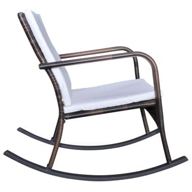 vidaXL Garden Rocking Chair Poly Rattan Brown[3/4]