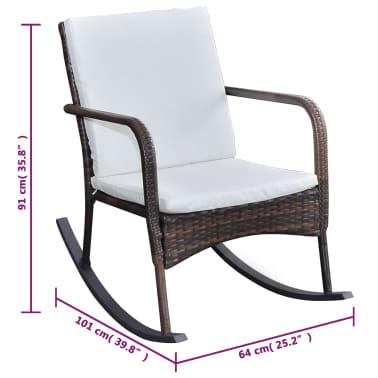 vidaXL Garden Rocking Chair Poly Rattan Brown[4/4]