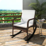 vidaXL Outdoor Rocking Chair Brown Poly Rattan